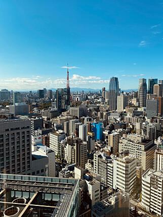 Elise Jakobsen i Jakobsen Frukt & Grønt drømmer om å jobbe i Tokyo, med denne kontorutsikten, og planlegger å flytte dit en periode. 📸: Privat