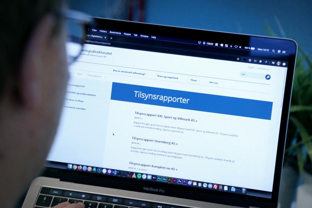 Når Tilsynet for universell utforming av IKT kontrollerer nettsider publiserer de rapporter som ligger offentlig tilgjengelig. 📸: Ole Petter Baugerød Stokke