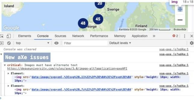 Återkoppling i webbläsarens utvecklarverktyg.