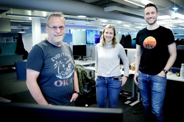 Utviklerne Fredrik Rødland, Marte Helene Austdahl og Henrik Falch i Finn. 📸: Ole Petter Baugerød Stokke