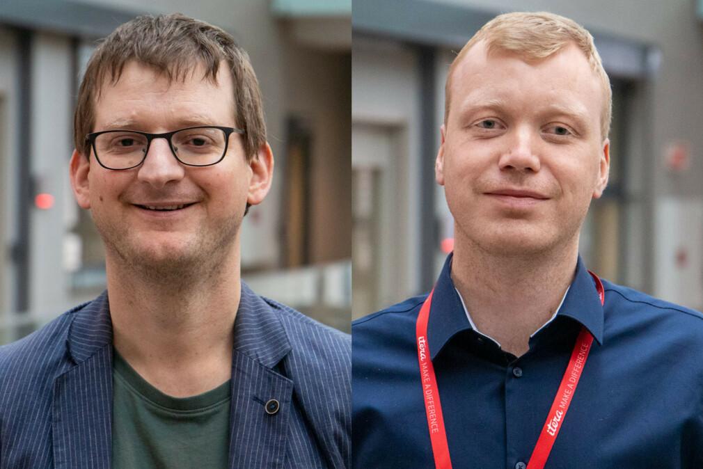 Rasmus Rimestad og Raymond Dyngeseth Selvik går inn i Itera. 📸: Itera