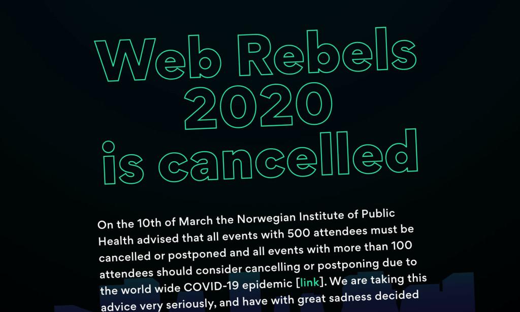 Den kjente norske utviklerkonferansen Web Rebels velger å avlyse sitt 2020-arrangement. 📸: webrebels.no / Jørgen Jacobsen