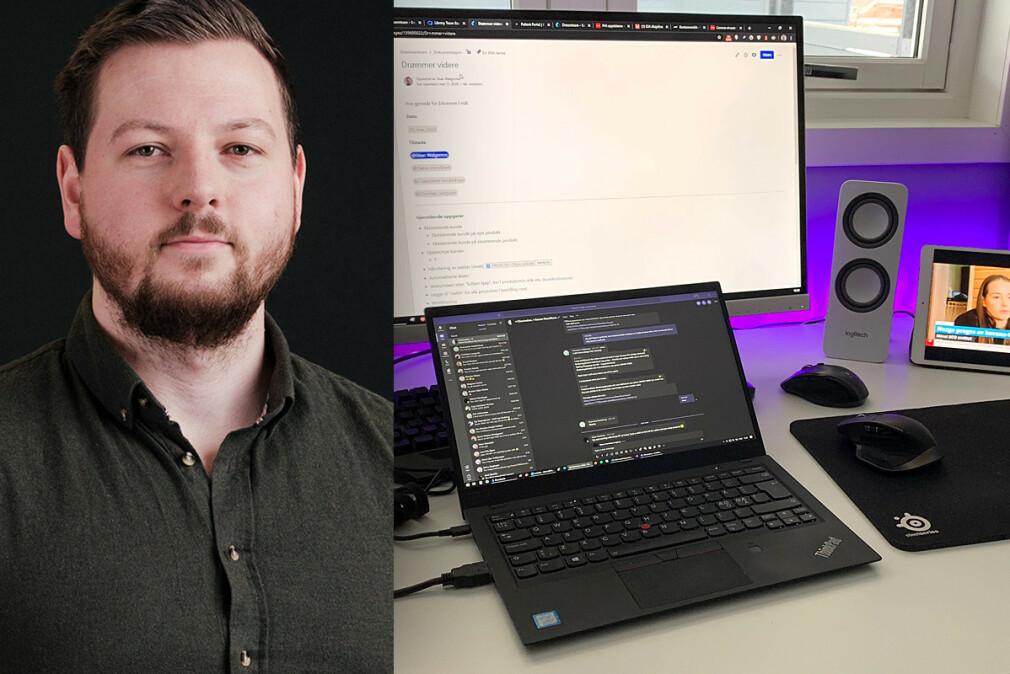 Stian Walgermo er UX-leder i Sticos i Trondheim. Akkurat nå jobber han på hjemmekontor. 📸: Privat