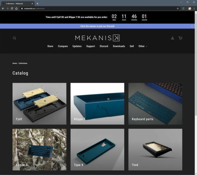 """Slik ser nettbutikken til Mekanisk ut. Som du ser, selger han ikke komplette tastaturer, men deler til det som i miljøet kalles """"kits"""". Tastaturet nederst til venstre på bildet er bare et forslag til hva som kan bygges. 📸: Ole Petter Baugerød Stokke"""