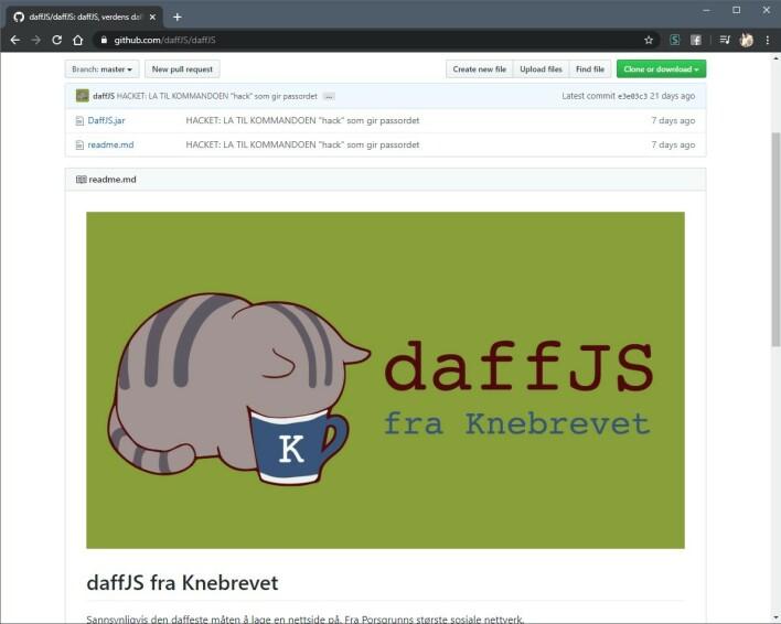 daffJS er bare tull og tøys, men vi lagde en Java-applikasjon som faktisk lagde en nettside.