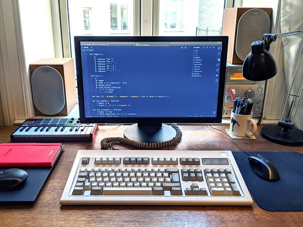 Retrolykke på hjemmekontoret med IBM Model M fra 1987. 📸: Teodor Ande Elstad