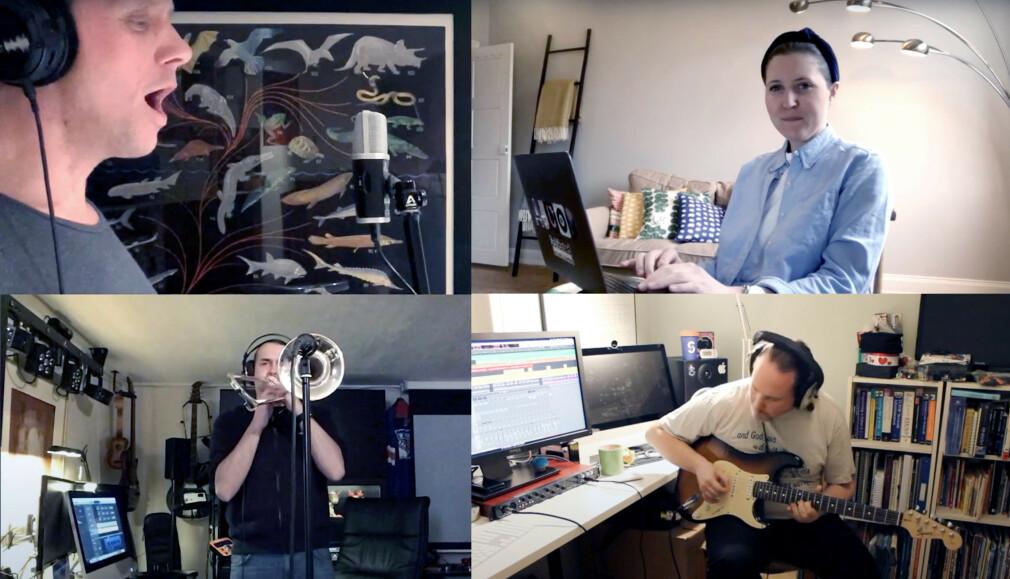 Her ser du et knippe av medlemmene i bandet Remotely in Tune, bestående av Schibsted-utviklere på hjemmekontor. 📸: Schibsted / Youtube