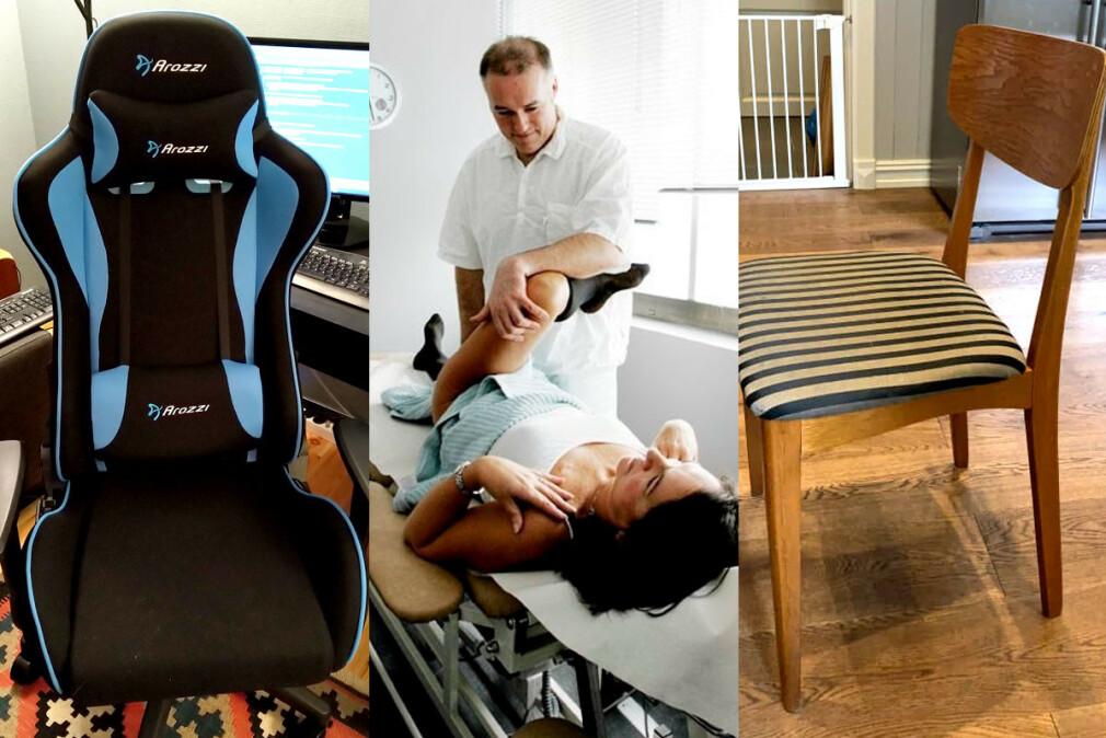 Norske utviklere sitter på alt fra gaming- til kjøkkenstoler på hjemmekontorene sine. Naprapat Andre Bolstad advarer mot konsekvensene av feil sittestilling, men stolen er bare én del av likninga. 📸: Privat / Oslo Ryggklinikk