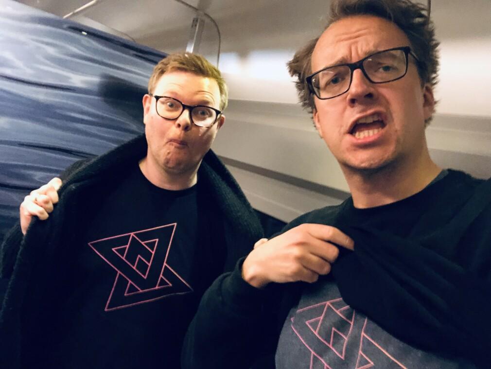Fagredaktør Jørgen Jacobsen og redaktør Ole Petter Baugerød Stokke på toget på vei til Bergen i fjor for å ikke motta prisen for årets nisjenettsted. 📸: Ole Petter Baugerød Stokke (selfie, ja)