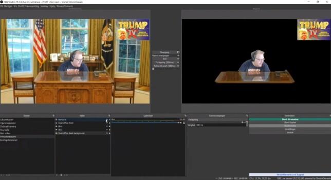 Her viser Trond Klakken fram hvordan han jobber med lagene i OBS Studio for å sette sammen en scene. Legg merke til jobben han har gjort for å få sin egen refleksjon i skrivebordet til Donald Trump. 📸: Ole Petter Baugerød Stokke