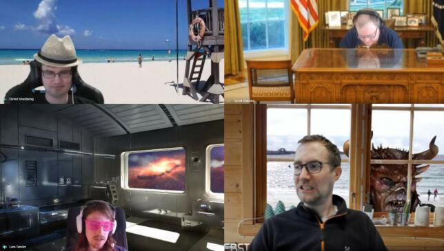 image: Disse utviklerne kjører videomøter med greenscreen