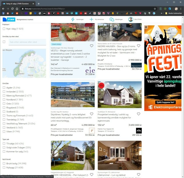 """Under annonsene ser du """"pris per kvadratmeter"""", som kommer fra Chrome-utvidelsen. 📸: Ole Petter Baugerød Stokke"""