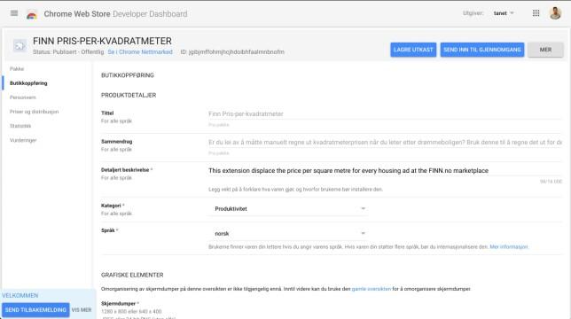 Her ser du adminpanelet til utvidelsen i Chrome. 📸: Privat