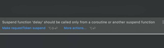 Figur 4 - kompileringsfeil ved kall til asynkron kode fra synkron context. 📸: Privat