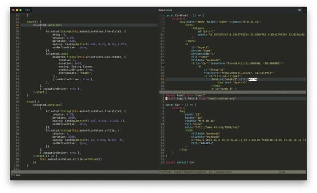 "Rolf Bjaanes: ""Bruker NeoVim rett i terminalen med Monokai. Conquer of Completion (CoC.nvim) for code completion og annet via Language Server Protocol. Sykt kjapt i forhold til VS Code, savner bare debuggeren."""