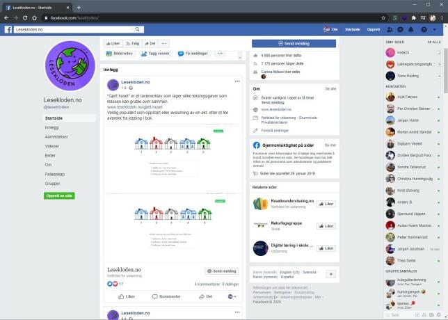 På Facebook holder Kristoffersen kontakt med Lesekloden-brukerne. Per nå har han over 7.000 følgere.