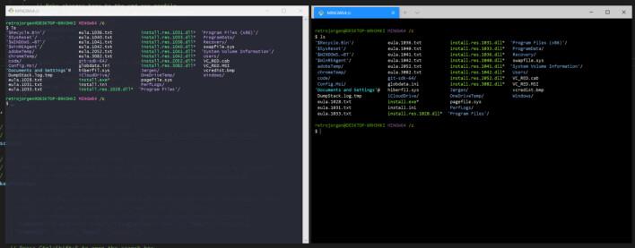 """Min Git-Bash med temaet Dracula på venstre side. Samme Git-Bash til høyre i Windows Terminal, men nullstilt og uten """"Tango Dark"""", som er temaet jeg har valgt i Windows Terminal. 📸: Jørgen Jacobsen"""