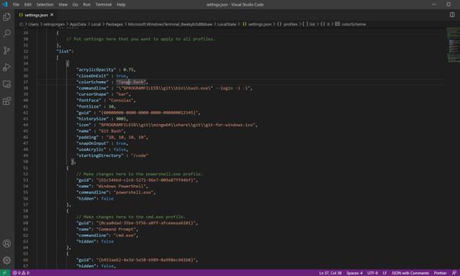 Konfigurasjonsfilen til Windows Terminal kan være vanskelig å forstå for en nybegynner. 📸: Jørgen Jacobsen