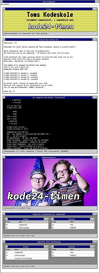 Toms Kodeskole lar deg lære i både Windows 3.11 og DOS - alt i en virtuell virkelighet!