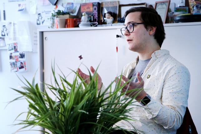 Petter Klingen Wright er en av utviklerne som bruker Clubhouse aktivt. 📸: Ole Petter Baugerød Stokke