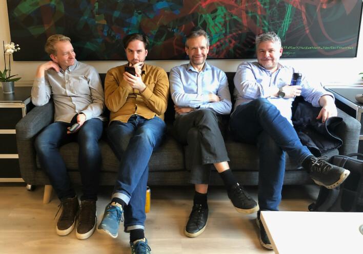 Partnerne Stian Gjedrem, Torstein Bjørnstad, Pål Fagerås og Pål Berg i Boitano ser fram til å kunne sitte tett i tett på kontoret igjen. 📸: Privat