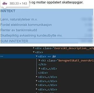 Den tilsynelatende tabellen Inntekt er kodet med div og dl-tagger, men burde heller være en tabell i følge Tilsynet.