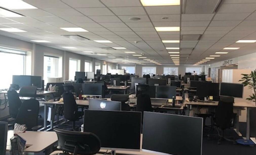 Mars 2020 — tomme lokaler hos SpareBank 1 Utvikling. 📸: Privat