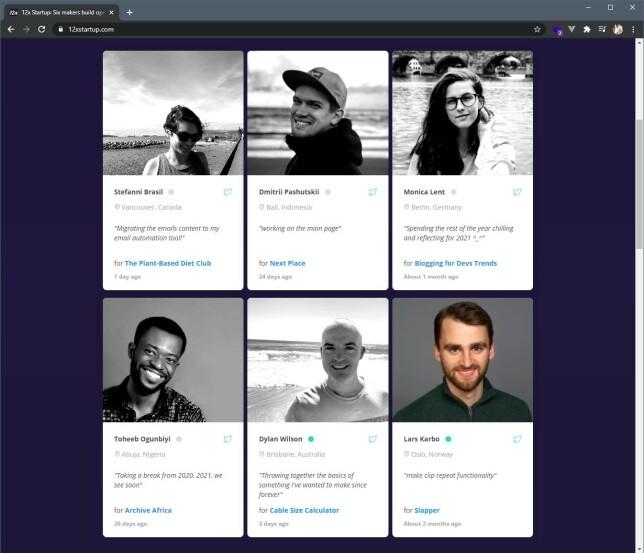 Lars Karbø har starta prosjektet sitt sammen med flere andre utviklere over hele verden, som han har blitt kjent med gjennom indie hacking-miljøet. Framdrifta deres kan man blant annet følge gjennom 12xstartup.com.