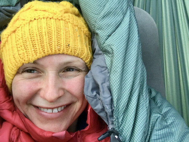 - Jeg sover helt elendig i hengekøye, men elsker konseptet, smiler Lene Hallen Wasskog. 📸: Privat