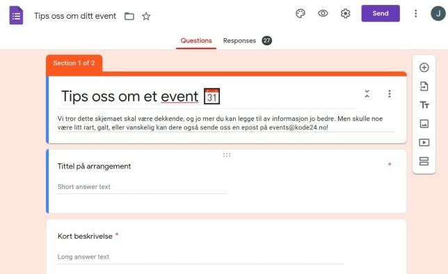 Skjemaet hvor vi tar i mot oppføringer på kode24-kalenderen er laga i Google Forms. Og koblingen mellom dette og et regneark i Google Drive gjør det til et mini-CMS. 📸: Jørgen Jacobsen