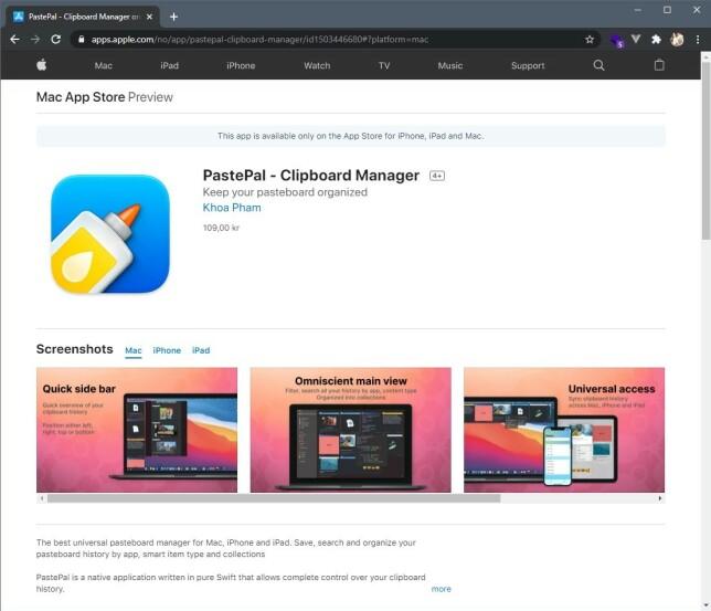 Med en app som PastePal, kan du kjøpe appen én gang, og late den ned til både iPhone, Mac og iPad.