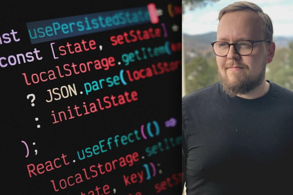 Kristofer Giltvedt Selbekk, aka Kaptein Krok, viser deg hvordan du lagrer data i React-appen din gjennom en egen hook og localStorage. 📸: Ole Petter Baugerød Stokke / Privat