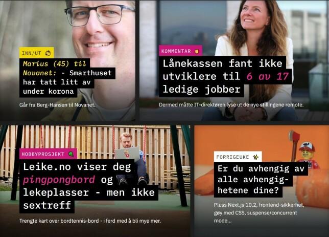 Tekst oppå bilder har ikke vært en suksessformel for kode24. Men det ser pent ut. 📸: Jørgen Jacobsen