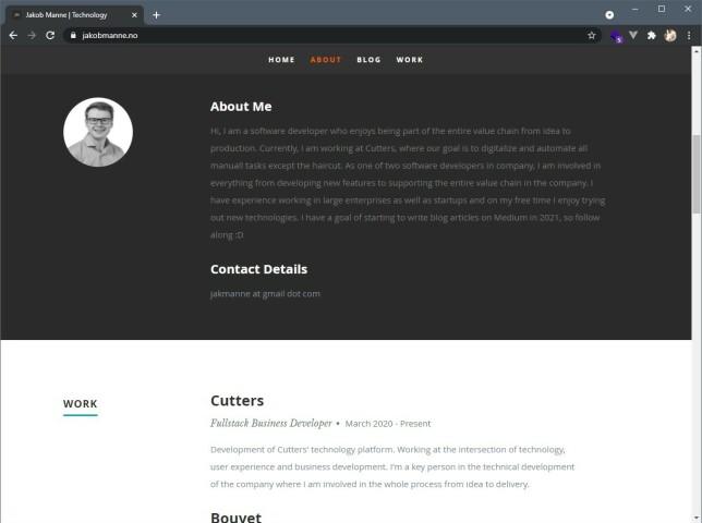 På jakobmanne.no har Jakob Halsteinslid Manne laget en klassisk hjemmesidemed litt CV, litt om utvikleren og litt prosjekter.