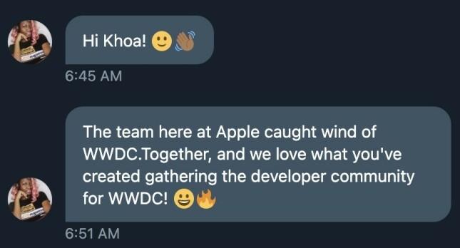 Skjermbilde fra Khoas innboks hvor ansvarlig for Worldwide Developer Relations hos Apple Timira James skryter av tjenesten. 📸: Privat