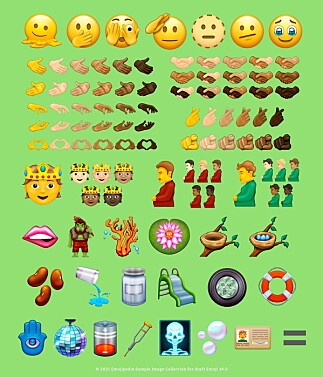 Emojipedias samlingsbilde av forslagene for Emoji 14.0. 📸: Emojipedia