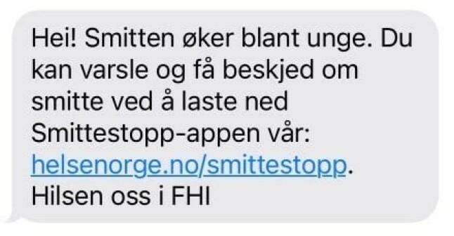 Slik ser sms-en ut. 📸: FHI