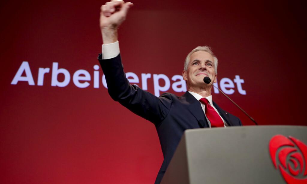 Ap-leder Jonas Gahr Støre erklærer partiet som valgvinner i sin tale til Arbeiderpartiets valgvake på Folkets hus ved stortingsvalget 2021. 📸: Javad Parsa / NTB